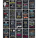 Juvale Pósters motivacionales (20 unidades) – Suministros para profesores para aulas – Ideal para oficinas, hogar, negocios, gimnasios – 33 x 48,3 cm