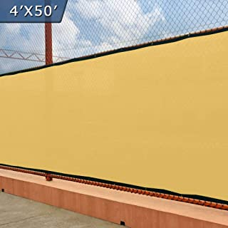 UPGRADE Fence Screen 4' x 50' Privacy Screen Fence with Heavy Duty Grommets for Visibility Blockage & Home Protection - Sand