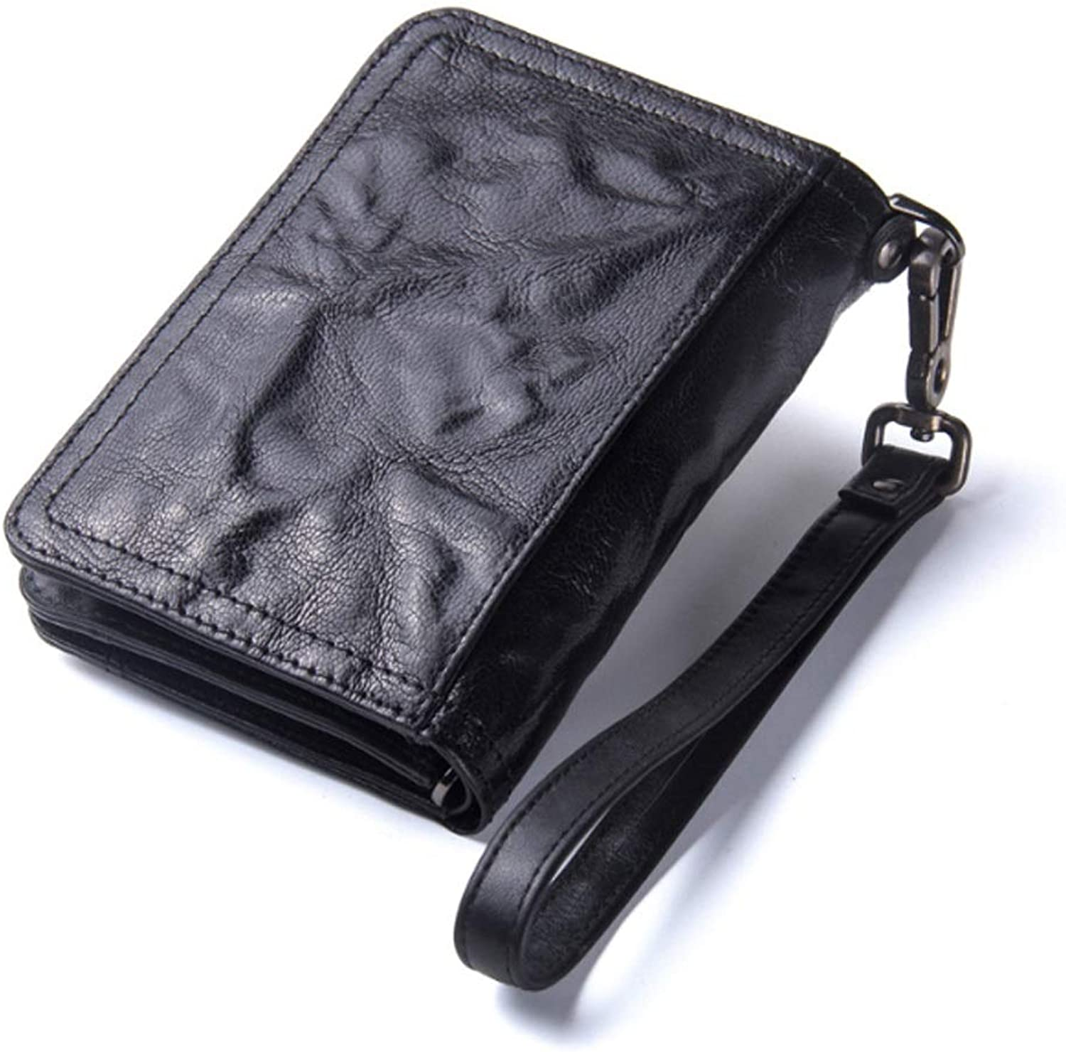 Fashion Wallet, New Men's Wallet MultiFunction Leather Purse with Wrist Strap Short Top Layer Leather Clutch