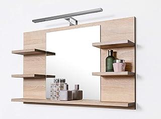 DOMTECH Miroir de salle de bain avec étagères en chêne Sonoma avec éclairage LED