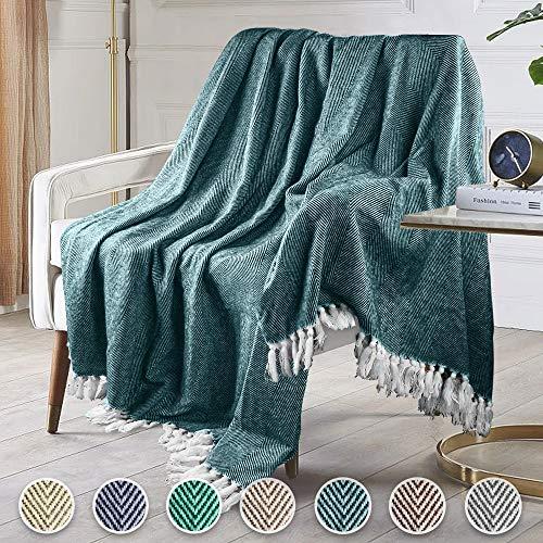 Manta Manta para sofá Manta de Punto patrón de Espiga con Elegante Borlas Manta de Cama Colcha para sofá, sillón o Cama (Verde Oscuro-R, 250 x 230 cm)