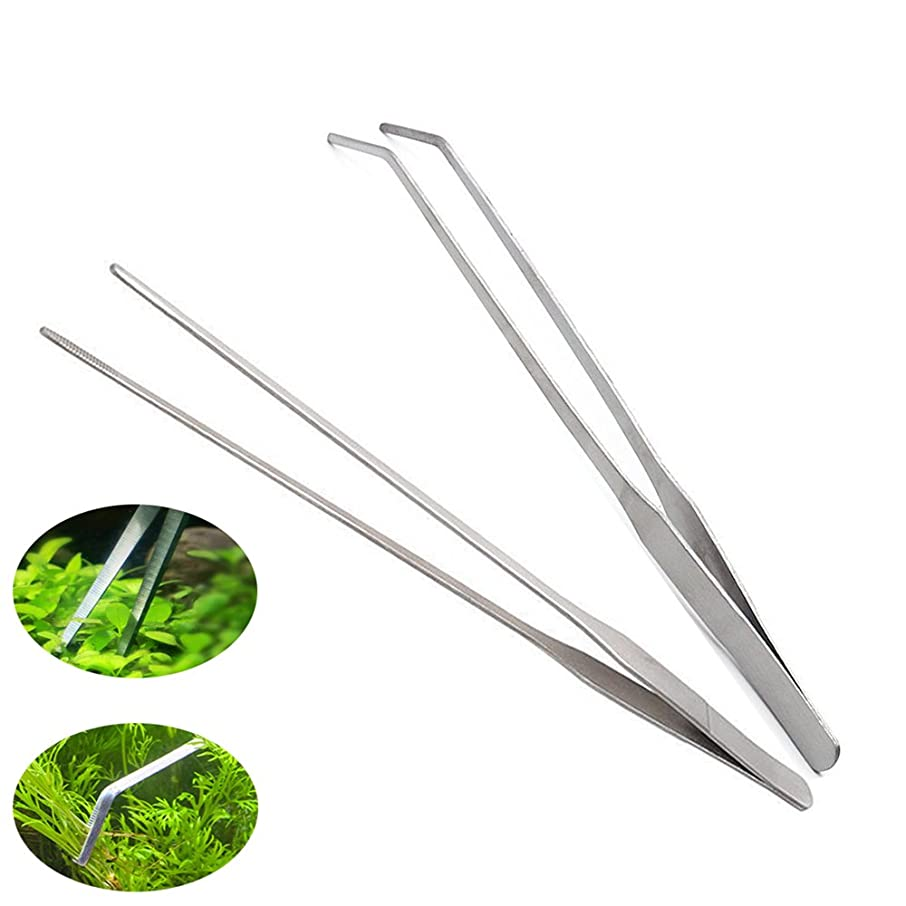 Dohuge 2-Piece Aquarium Tweezers Stainless Steel Straight and Curved Tweezers Set for Fish Tank Aquatic Plants, 27cm/10.6 inches Feeding Tongs for Hold Worms, Reptiles, Lizards, Bearded Dragon