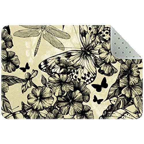 Blooming Phlox Teppich mit Schmetterlingen und Libellen, rutschfest, für Wohnzimmer, Schlafzimmer, 60 x 40 cm, Textil, multi, 60x40cm/24x16in