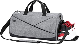 Sports Gym Duffel Bag with Shoes Compartment and Wet Separated Pocket, Travel Gym Holdall Bag for Men and Women Yoga Training Bag Weekend Overnight Tote Bag Waterproof, Grey