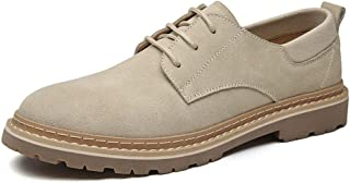 Leather Retro Oxfords for Men Low Top Work Shoes Lace up Suede Round Toe Flat Heel Vegan Hand-made Stitching shoes (Color : Sand, Size : 41 EU)