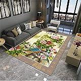 decorqcion Dormitorio Alfombra de Estar Alfombra Estilo Chino Impresión Floral Lavado de Agua Sucia dormitorios Juveniles completos Alfombra de Salon 200X250CM 6ft 6.7' X8ft 2.4'