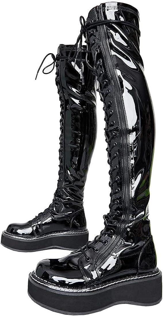 YIYA Over The Knee Platform Boots High Sid Ranking TOP5 Women for Heel El Paso Mall Chunky