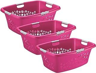Rotho Flowers Lot de 3 paniers à linge Fleurs 50l, Plastique (PP) sans BPA, rose, 3 x 50l (65,1 x 49,0 x 26,2 cm)