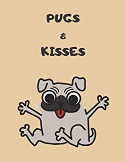 Pugs and Kisses: 120 isometric pages with quirky PUG cover for doodling, colouring and being creative