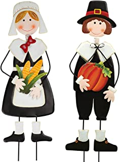 Miles Kimball Pilgrim Boy and Girl Metal Lawn Stakes Set by Maple Lane Creations, Thanksgiving Yard Décor