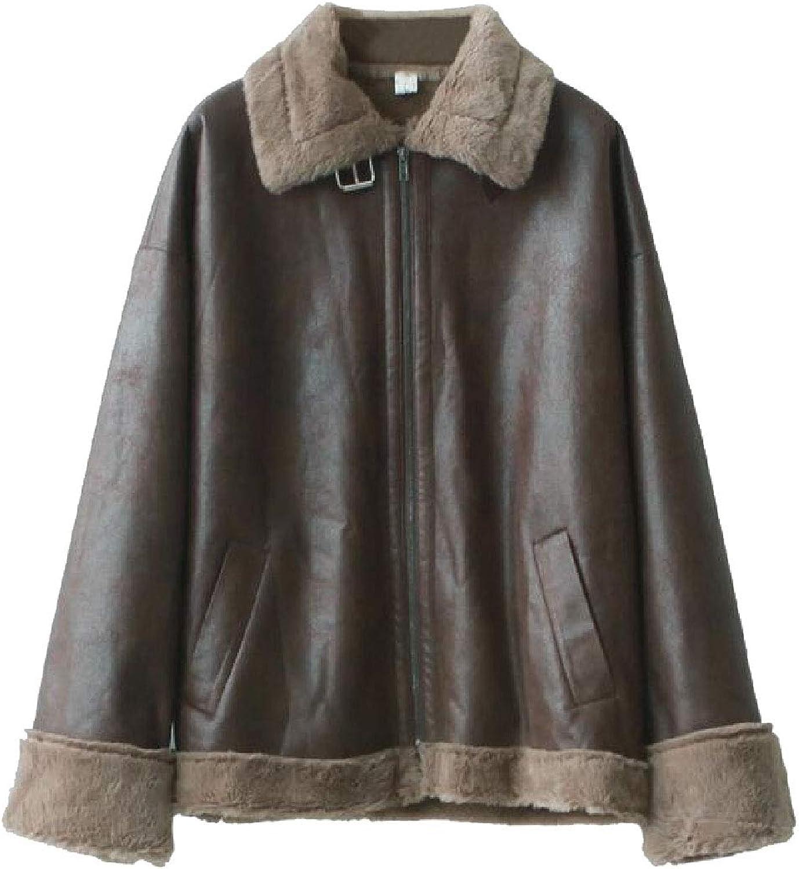 Gocgt Women Winter Casual Fleece Linling Faux Leather Jacket Coat