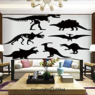 Lionpapa_mural Removable Wall Mural Ideal to Decorate Your Living Room,Prehistoric Skeleton Bone Black Silhouettes of Different Ancient Wild Dinosaurs Decorative,Home Decor - 66x96 inches