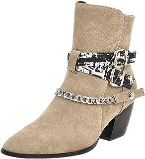 Zanpa Women Classic Western Booties Block High Heels