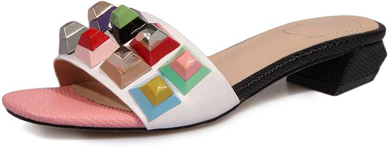 Nerefy Genuine Leather Women Summer shoes Heel Punk Rivet Open Toe Platform Sandals Big Size 34-43