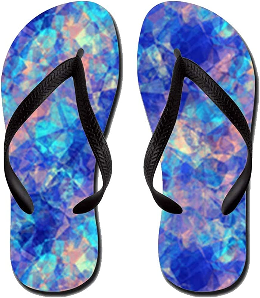Azure Blue Crumpled Pattern Marble Flip Flops Casual Comfortable Summer Beach Sandal For Men Women Kid Non Slip Sandals