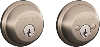 Schlage B62N619 Deadbolt, Keyed 2 Sides, Satin Nickel