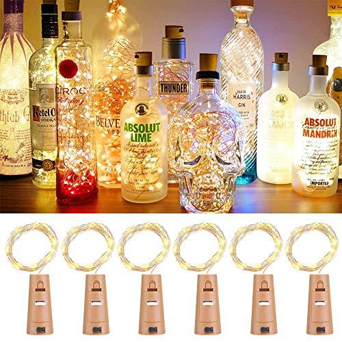 LED Flaschen Licht OASMU Flaschenlicht Weinflaschen Lichter 6 Stück 20er LED Kork Flasche Lichterkette 20 Led Flaschenbeleuchtung 2M Kupferdraht Licht Sternenlicht für Flasche DIY Dekor Weihnachten
