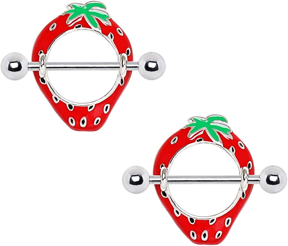14G Stainless Steel Red Strawberry Fruit Nipple Shields, Sold as a Pair