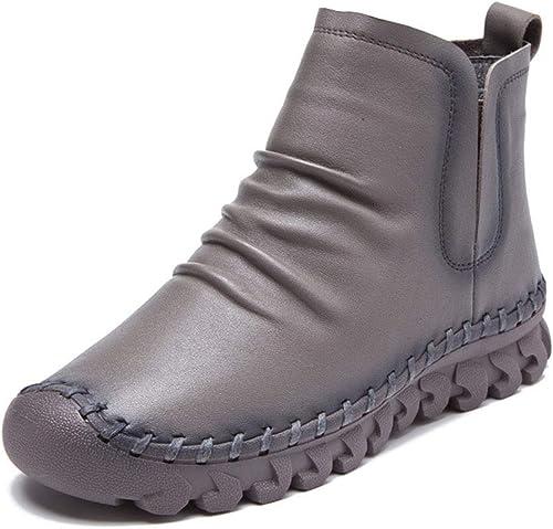 YAN Stiefel de damen Nuevo Cuero rotondo Cabeza Alto-Top Casual schuhe Antideslizante Moda Martin Stiefel schwarz braun grau Vino rot,C,38