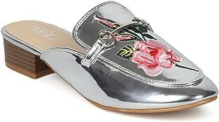 Alrisco Women Rose Embroidered Horsebit Low Heel Mule HH90