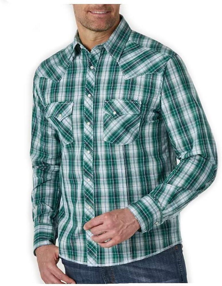 Wrangler Men's Green Small Plaid Fashion Snap Long Sleeve Western Shirt Green