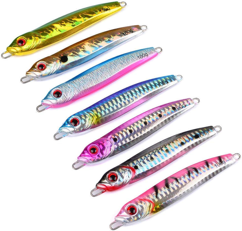 FidgetFidget Fishing Lures Lead Fish Jig 7 colors Sea Bait Jigging Baits 100G 7pcs Lot