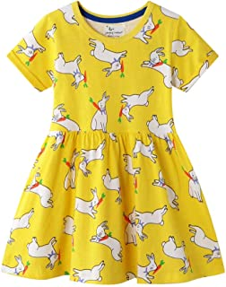 FreeLu Little Girls Cotton Casual Princess Dress Cute Cartoon Short-Sleeved T-Shirt