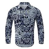 ERNUMK Camisa de manga larga para el tiempo libre, camisa con estampado, camisa con botones, camisa hawaiana, camisa transpirable, A-negro., M