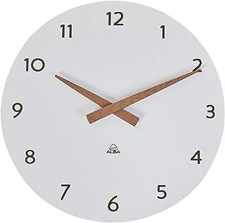 ALBA Wall Clock – Wood – Quartz – Silent – Precious – Modern Look and Purity – White