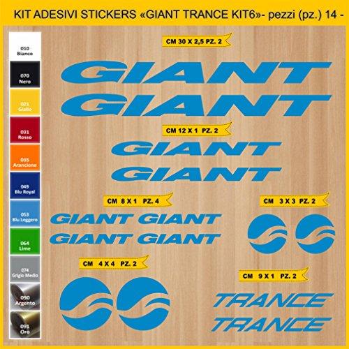 Adesivi Bici Giant Trance_Kit 6_ Kit Adesivi Stickers 14 Pezzi -Scegli SUBITO Colore- Bike Cycle pegatina cod.0862 (053 Blu Leggero)