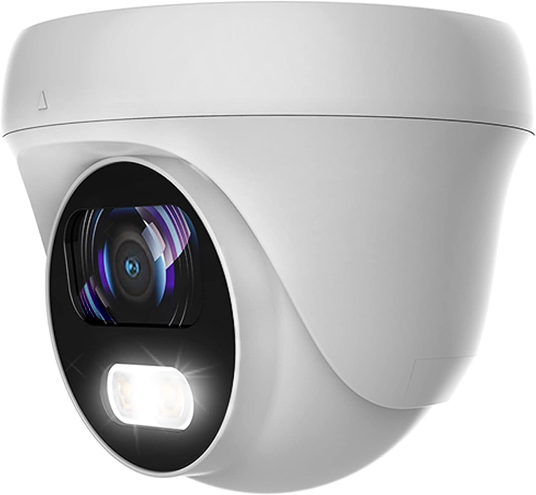 5MP Lite/ 2MP 24/7 Full-Color HD TVI/CVI/AHD/CVI Turret Dome CCTV Security Camera, Indoor Outdoor Color Night Vision Waterproof Analog Surveillance Camera 2.8mm Lens