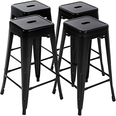 FDW Bar Stools Set of 4 Counter Stool Metal Bar Stools 30 Inches Height Industrial Bar Chairs Patio Stool Stackable Modern Backless Indoor Outdoor Metal Bar Stool Kitchen Stools Chairs,Black