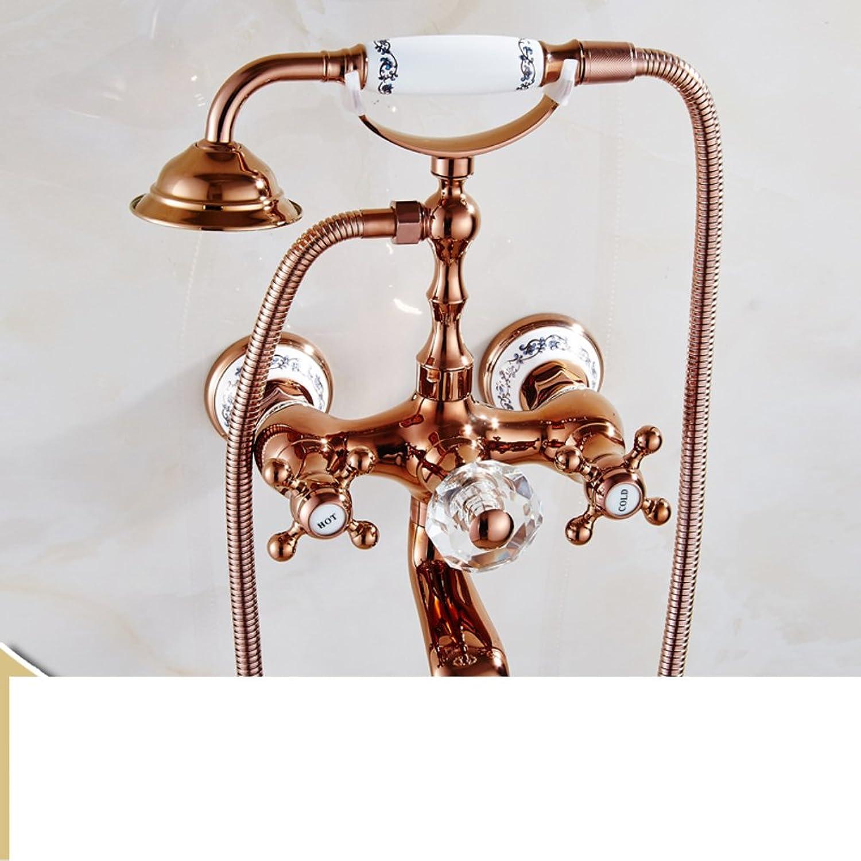 European Copper Bathtub Faucet Shower Head sit Simple Double-Handle Shower Faucet-E