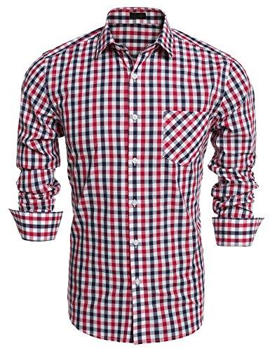 Burlady Herren Hemd Kariert Regular Fit Trachtenhemd Bügelleicht Freizeithemd Hemd Männer (XXL, Red)