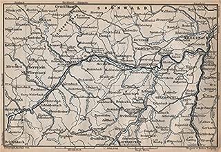 NAHETAL. Idar-Oberstein Kirn Monzingen Rüdesheim Kreuznach Sobernheim - 1896 - old map - antique map - vintage map - Rhineland-Palatinate map s