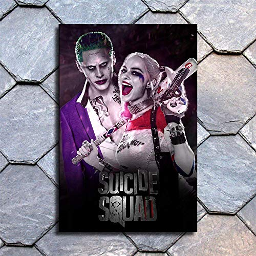 Suicide Squad Joker Harley Quinn Wall Art Home Wall Decorations for Bedroom Living Room Oil Paintings Canvas Prints-412 (Framed,12x18inch)