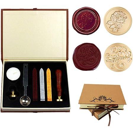 Dsaren Sceaux pour Cachet Rétro Kit de Cire Timbre Lettre avec 2 Laiton Cachet Sceau Cuillère à Cire Coffret Cadeau (Amour + Rose)