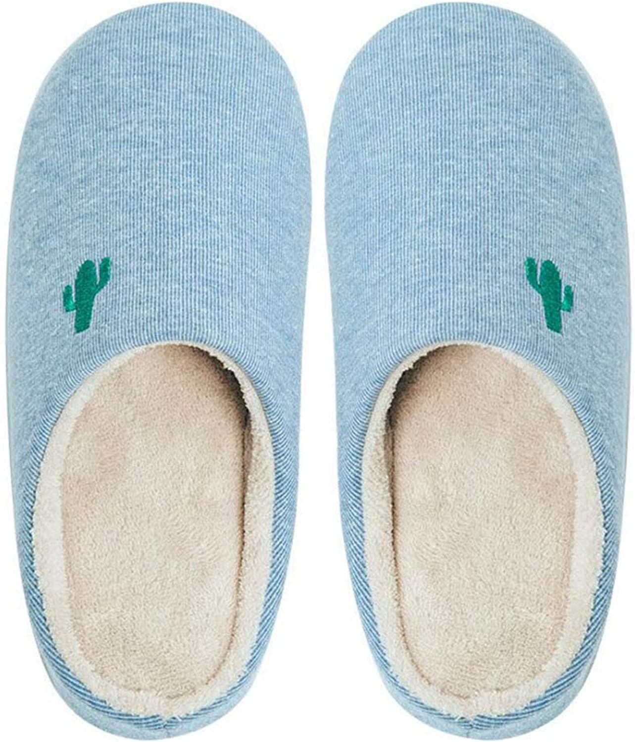 Home Slippers, Winter Embroidery Non-Slip Thick-Soled Cotton Slippers for Men and Women Warm Home Home Indoor Mute Couple Comfortable Cotton Slippers,lightbluee,40