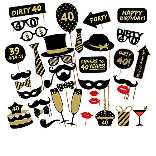 Veewon 40e fête d'anniversaire Party Booth Props Unisexe Funny 36pcs DIY Kit Convient pour His Or Hers 40ème Anniversaire Celebration Propulsion de Photobooth