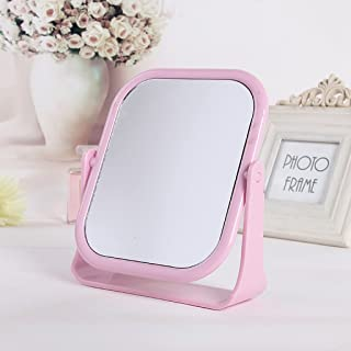 NYDZDM Simple High - Please Double - Sided Make - Up Mirror Desktop Dressing Mirror Dormitory Desktop Rotating Mirror (Color : Pink)