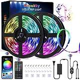 Racokky Striscia LED, 20M RGB, telecomando IR a 44 tasti, controllo APP, sincronizzazione musicale, striscia luminosa che cambia colore per arredamento, cucina, bar, feste, TV e camera da letto