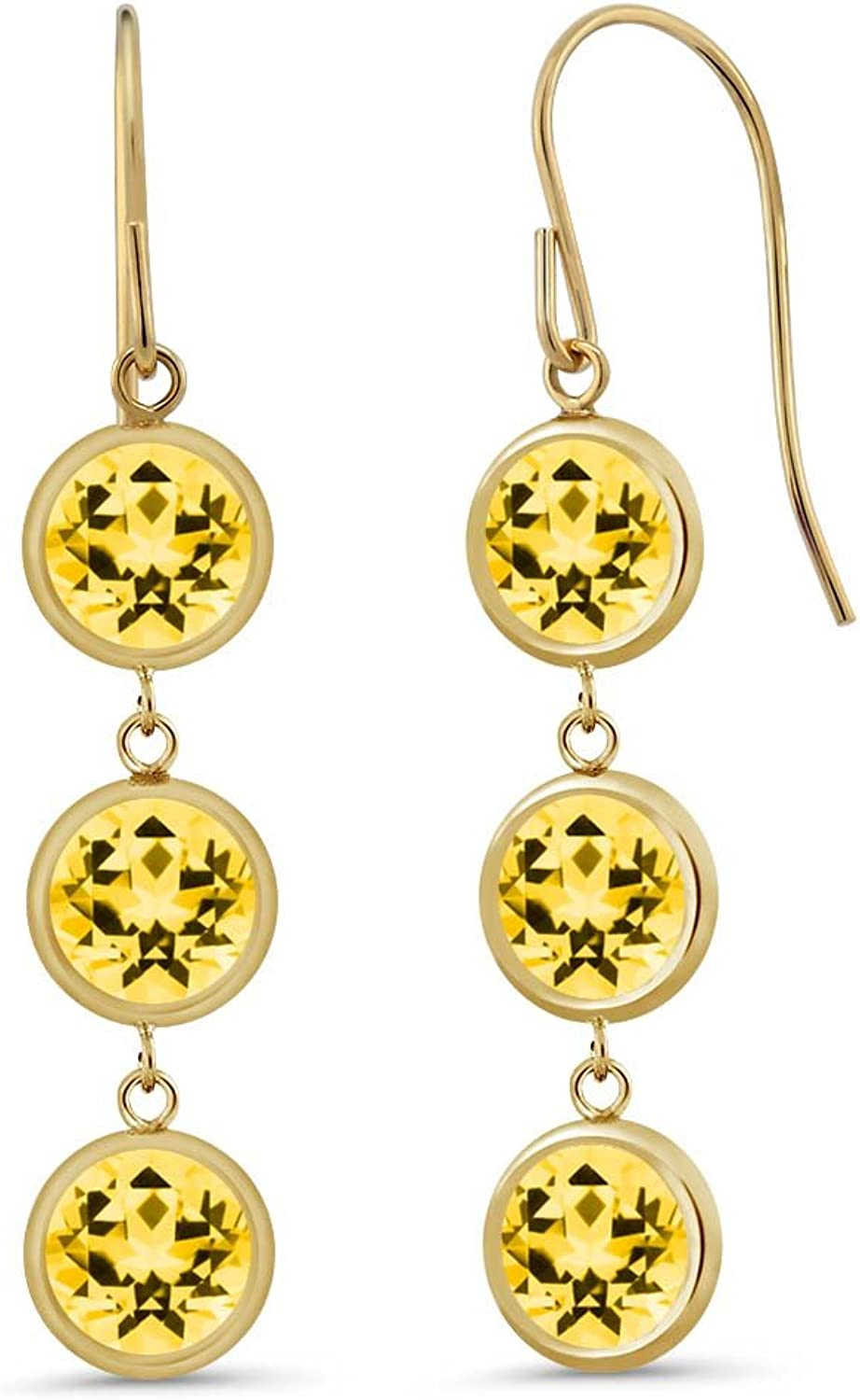 3.90 Ct Honey 14K Yellow gold Earrings Natural Topaz Cut by Swarovski