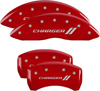 MGP Caliper Covers 12162SCH1RD Charger ll Engraved Caliper Cover with Red Powder Coat Finish and Silver Characters, (Set of 4)