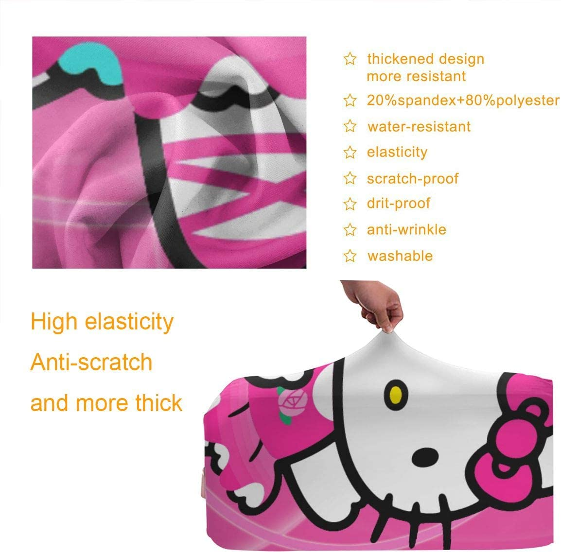 Suitcase Cover Hello Kitty Trolley Travel Luggage Covers Suitcase Protector Washable Baggage Cover M