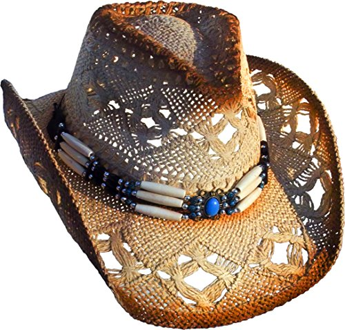 Running Bear Cowboyhut mit Knochen Hutband - Westernhut - Hut Gr. S - 52-56 cm - beige Wild West Line Dance Kleidung