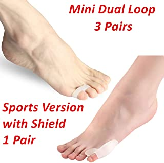 Dr.Koyama 4 Pairs Overlapping Pinky Toe Tailor's Bunion Corrector Straightener Seperator Splint Spreaders - Soft Gel Bunionette Pad- Protector - Tailors Bunion Pain Relief