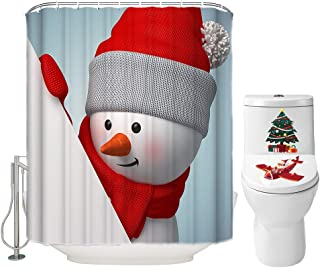 Christmas Shower Curtain Set for Bathroom- Cute Snowman Playing Hide & Seek with You, Winter Holiday Polyester Fabric Decoration with Hooks and Toilet Cover Sticker, Xmas Decor 72x72