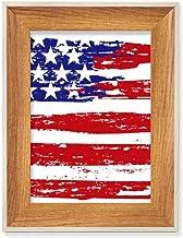 Estrelas e listras Air Brushing Bandeira dos Estados Unidos Desktop Moldura de madeira para foto de exibição de imagem, pi...