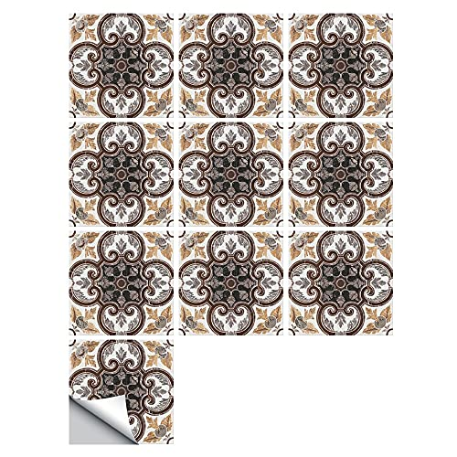 Fawyhr 10 unids/set mármol textura crema color escarcha azulejos de piso pegatina de pared, cocina casa renovación papel tapiz antideslizante arte etiqueta de pared autoadhesivo piso Hermosa Casa