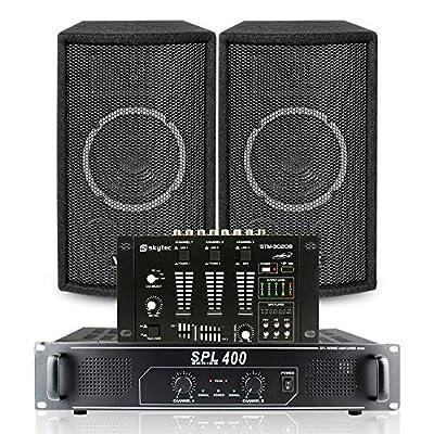 "2x Skytec 6"" SL6 Speakers + Skytec SPL-400 Amplifier + Mixer + Cables 300W"